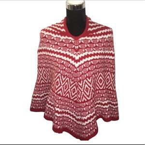 Red & White Nordic Hooded Poncho